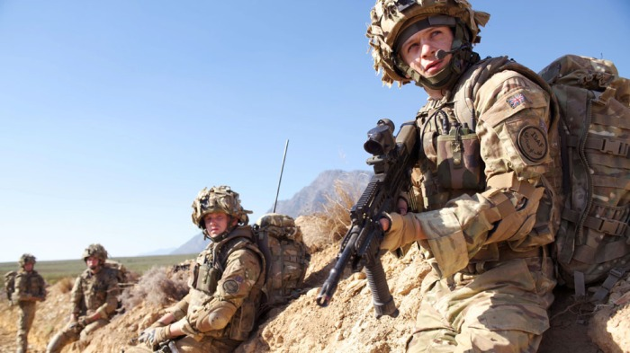WARNING: Embargoed for publication until: 16/09/2014 - Programme Name: Our Girl Series 1 - TX: n/a - Episode: n/a (No. 1) - Picture Shows:  Mansfield Mike (NICK PRESTON), Smurf (IWAN RHEON) - (C) BBC - Photographer: David Bloomer