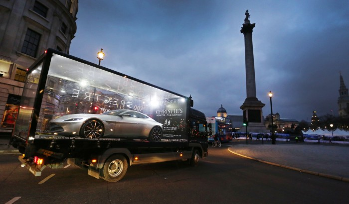 Bond's Spectre Aston Martin DB10 car tours the UK before auction, 12th February 2016, London, UK