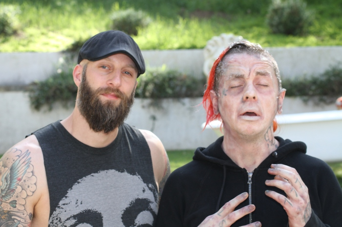 Director Erik Boccio with actorSlipknot DJ Sid WIlson in frozen FX make up by Laney Chantal on set of Blood Bath