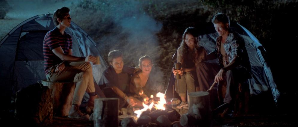Around the campfire Riley (Thomas Ochoa), Derrick (John Omohundro), Hailey (Sydney Sweeeney) Selena (Tiffany Brouwer) and John (Paul Logan)
