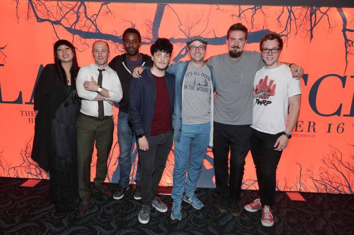 """Producer Jessica Wu, Writer Simon Barrett, Brandon Scott, Wes Robinson, Producer Keith Calder, Director Adam Wingard and James Allen McCune seen at Lionsgate's """"Blair Witch"""" screening at 2016 Comic-Con on Friday, July 22, 2016, in San Diego, CA. (Photo by Eric Charbonneau/Invision for Lionsgate/AP Images)"""