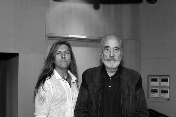 The late Christopher Lee and Neil Johnson in 2010